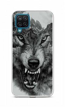 Zadní silikonový kryt na Samsung A12 Černobílý vlk
