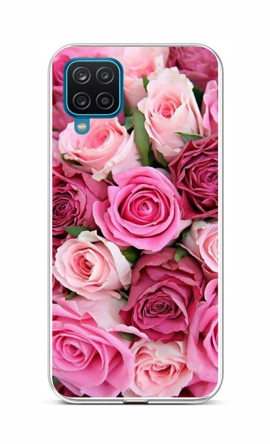 Zadní silikonový kryt na Samsung A12 Růžové růžičky