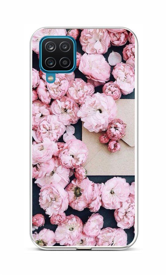 Zadní silikonový kryt na Samsung A12 Růžové květy