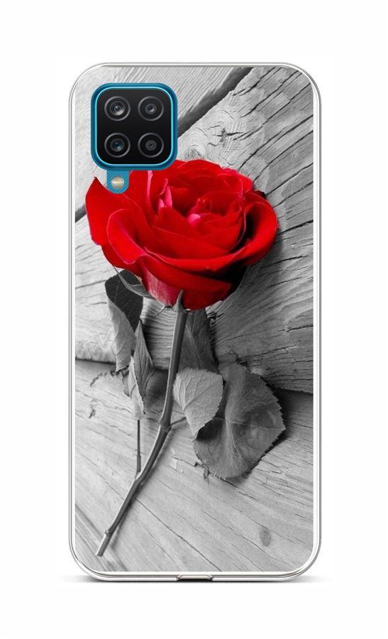 Zadní silikonový kryt na Samsung A12 Červená růže