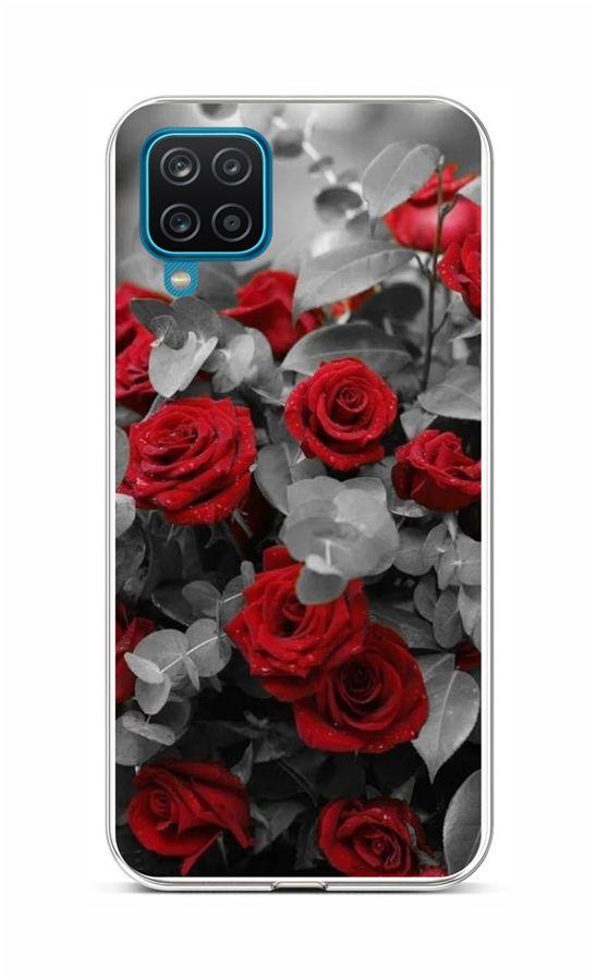 Zadní silikonový kryt na Samsung A12 Červené růže mix