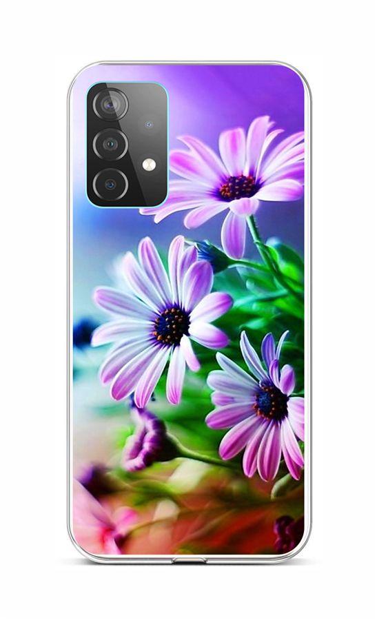 Zadní silikonový kryt na Samsung A52 Fialové květy