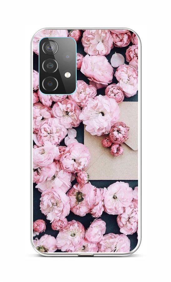 Zadní silikonový kryt na Samsung A52 Růžové květy