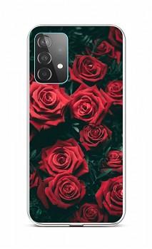 Zadní silikonový kryt na Samsung A52 Červené růžičky