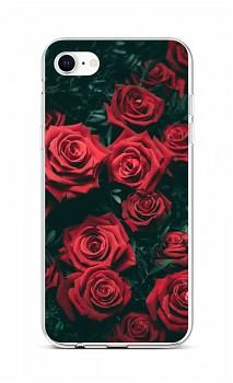 Zadní silikonový kryt na iPhone SE 2020 Červené růžičky
