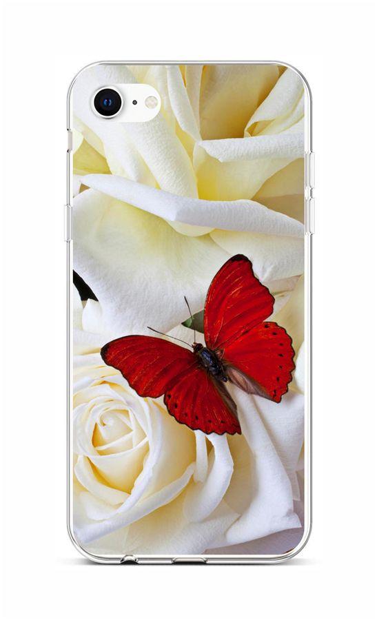 Zadní silikonový kryt na iPhone SE 2020 Červený motýl