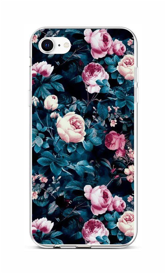 Zadní silikonový kryt na iPhone SE 2020 Růžičky
