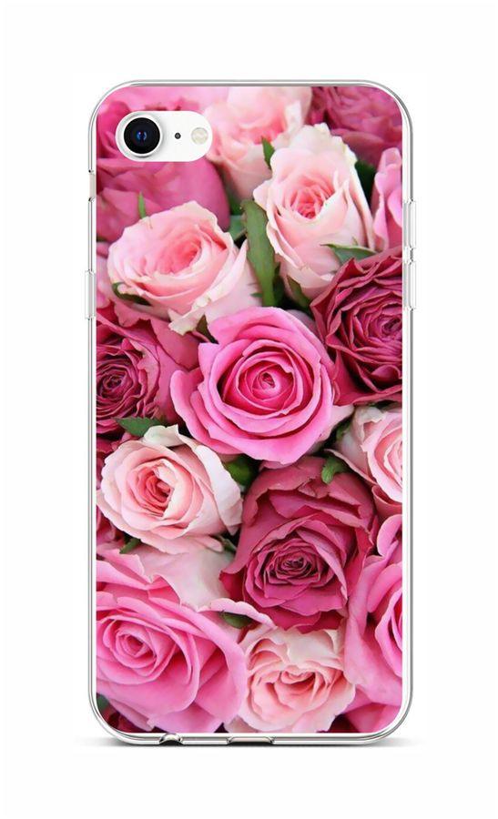 Zadní silikonový kryt na iPhone SE 2020 Růžové růžičky