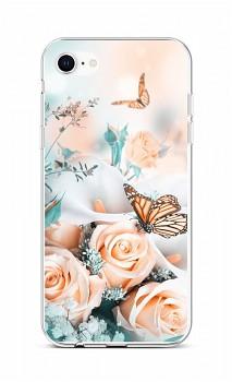 Zadní silikonový kryt na iPhone SE 2020 Růže s motýlem