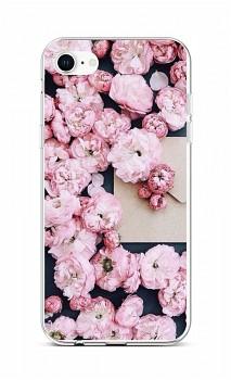 Zadní silikonový kryt na iPhone SE 2020 Růžové květy