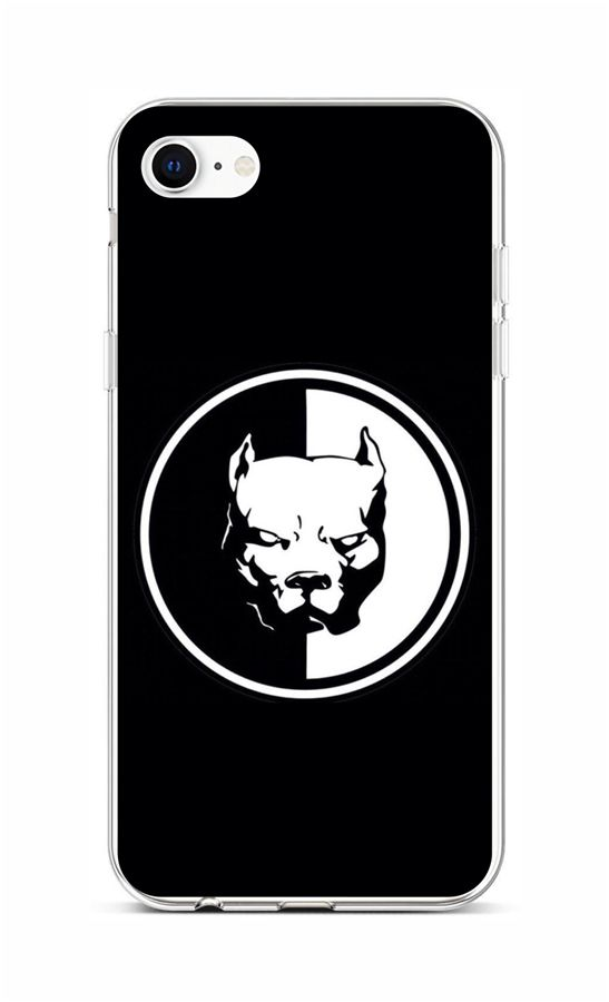 Zadní silikonový kryt na iPhone SE 2020 Černobílý pitbull