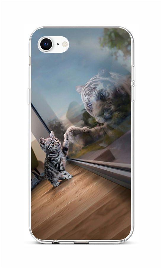 Zadní silikonový kryt na iPhone SE 2020 Odraz tygra