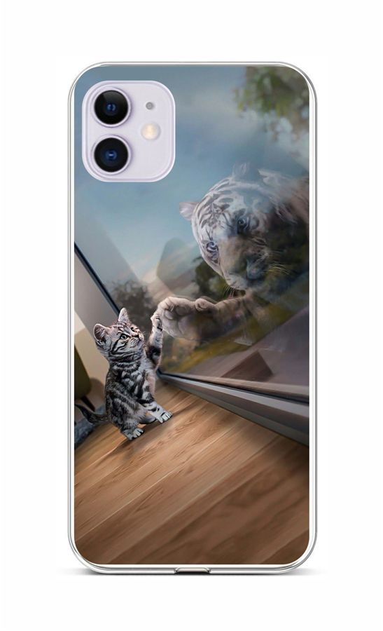 Zadní silikonový kryt na iPhone 11 Odraz tygra