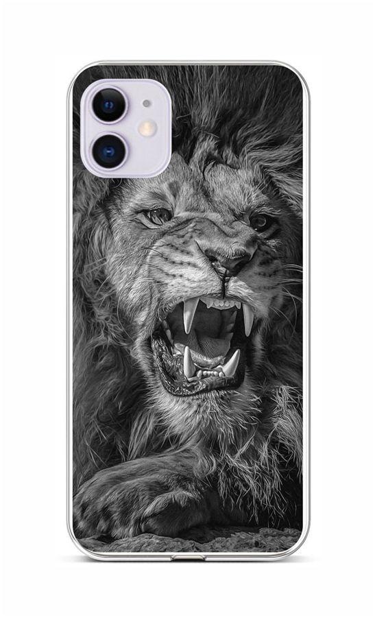 Zadní silikonový kryt na iPhone 11 Černobílý lev
