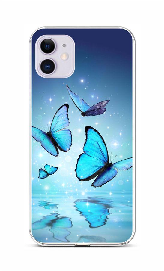 Zadní silikonový kryt na iPhone 11 Modří motýlci