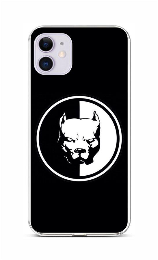 Zadní silikonový kryt na iPhone 11 Černobílý pitbull