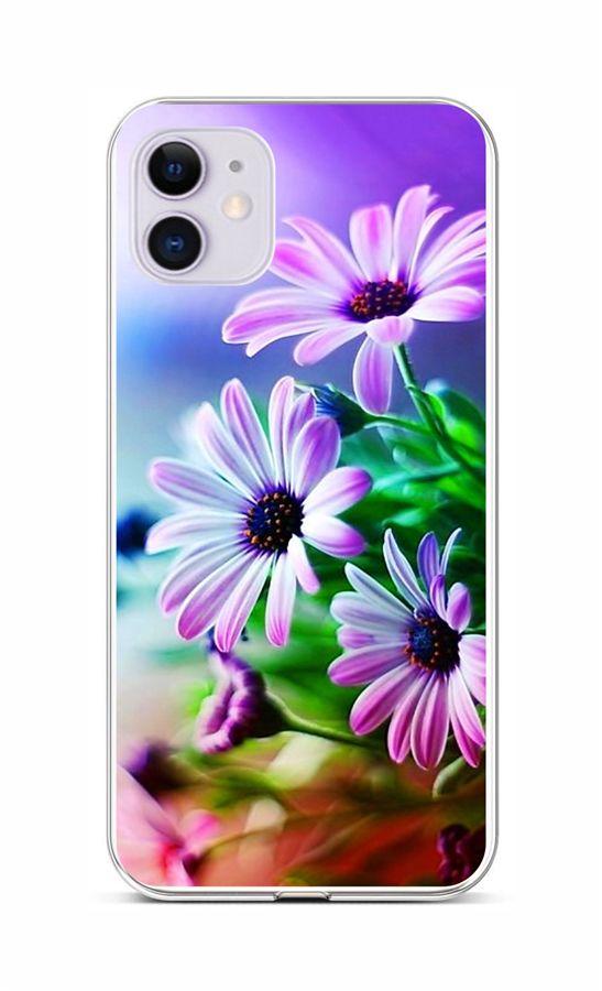Zadní silikonový kryt na iPhone 11 Fialové květy