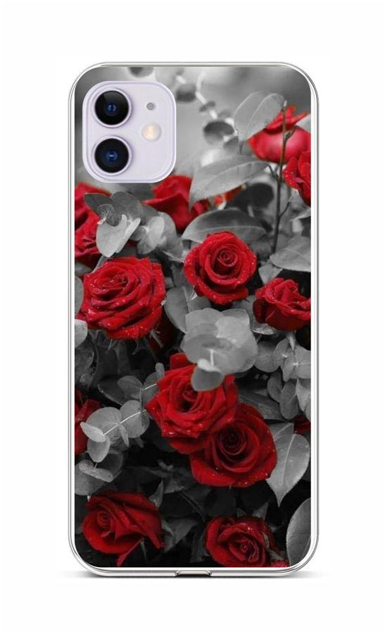 Zadní silikonový kryt na iPhone 11 Červené růže mix