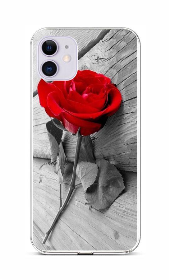Zadní silikonový kryt na iPhone 11 Červená růže