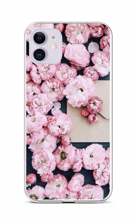 Zadní silikonový kryt na iPhone 11 Růžové květy