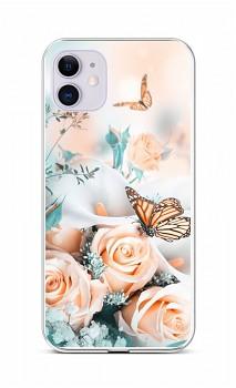 Zadní silikonový kryt na iPhone 11 Růže s motýlem