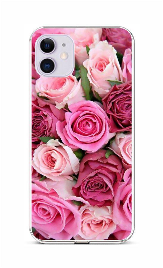Zadní silikonový kryt na iPhone 11 Růžové růžičky