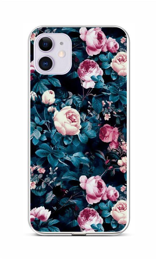Zadní silikonový kryt na iPhone 11 Růžičky