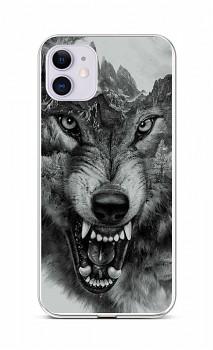 Zadní silikonový kryt na iPhone 11 Černobílý vlk