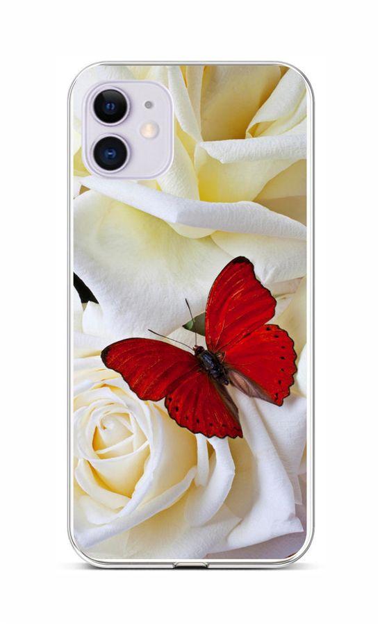 Zadní silikonový kryt na iPhone 11 Červený motýl