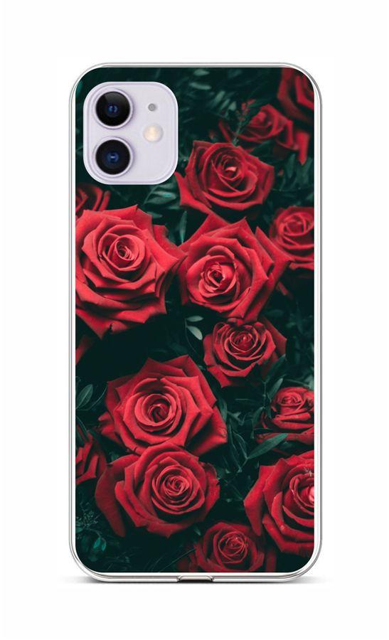 Zadní silikonový kryt na iPhone 11 Červené růžičky