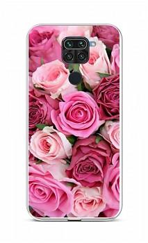 Zadní silikonový kryt na Xiaomi Redmi Note 9 Růžové růžičky