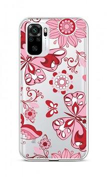 Zadní silikonový kryt na Xiaomi Redmi Note 10 Pink Butterfly
