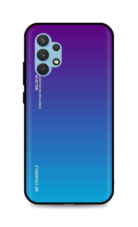 Zadní pevný kryt LUXURY na Samsung A32 duhový purpurový