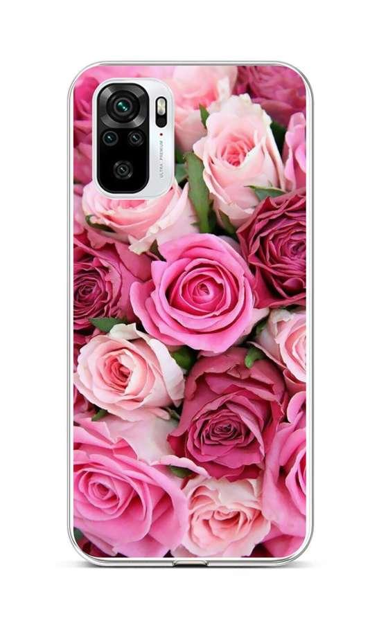 Zadní silikonový kryt na Xiaomi Redmi Note 10 Růžové růžičky