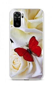 Zadní silikonový kryt na Xiaomi Redmi Note 10 Červený motýl