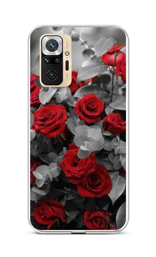 Zadní silikonový kryt na Xiaomi Redmi Note 10 Pro Červené růže mix