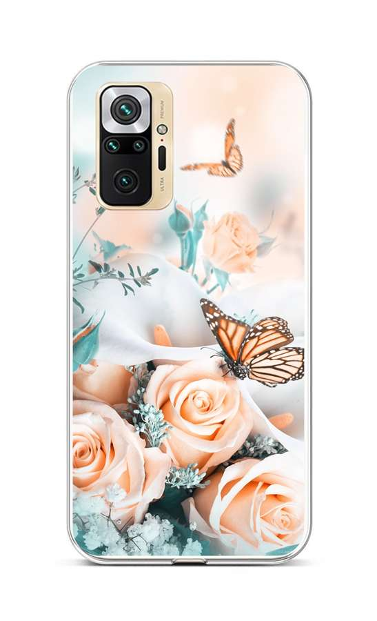 Zadní silikonový kryt na Xiaomi Redmi Note 10 Pro Růže s motýlem
