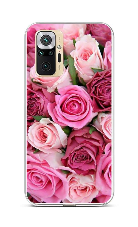 Zadní silikonový kryt na Xiaomi Redmi Note 10 Pro Růžové růžičky