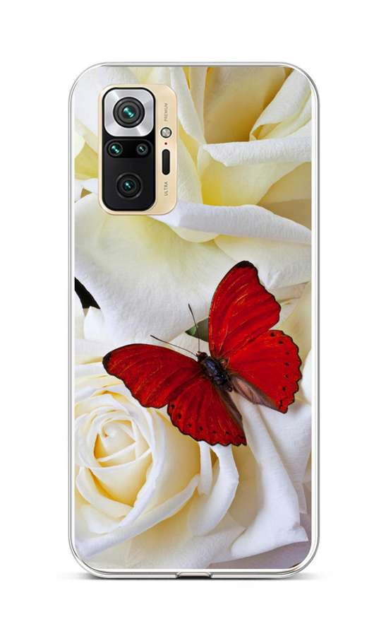Zadní silikonový kryt na Xiaomi Redmi Note 10 Pro Červený motýl