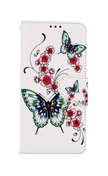 Knížkové pouzdro na Xiaomi Redmi Note 10 Motýlci s květinou