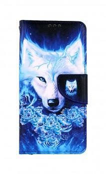 Knížkové pouzdro na Xiaomi Redmi Note 10 Tyrkysový vlk