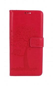 Knížkové pouzdro na Xiaomi Redmi Note 10 Pro Tmavě růžový strom sovičky