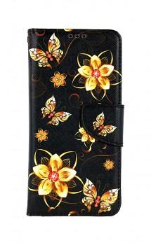 Knížkové pouzdro na Xiaomi Redmi Note 10 Zlaté květy