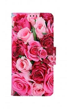 Knížkové pouzdro na Xiaomi Redmi Note 9 Pro Růžové růžičky