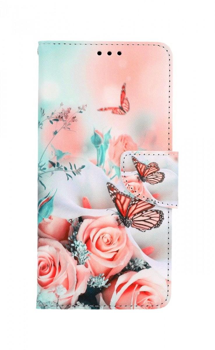 Knížkové pouzdro na Xiaomi Redmi Note 9 Růže s motýlem