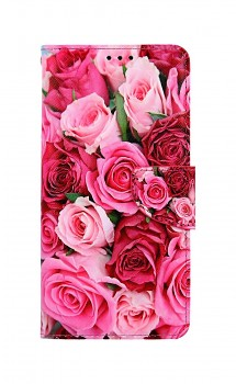 Knížkové pouzdro na Xiaomi Redmi Note 9 Růžové růžičky