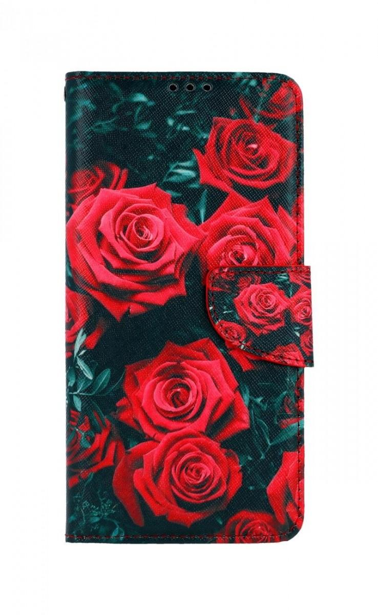 Knížkové pouzdro na Samsung A12 Červené růžičky
