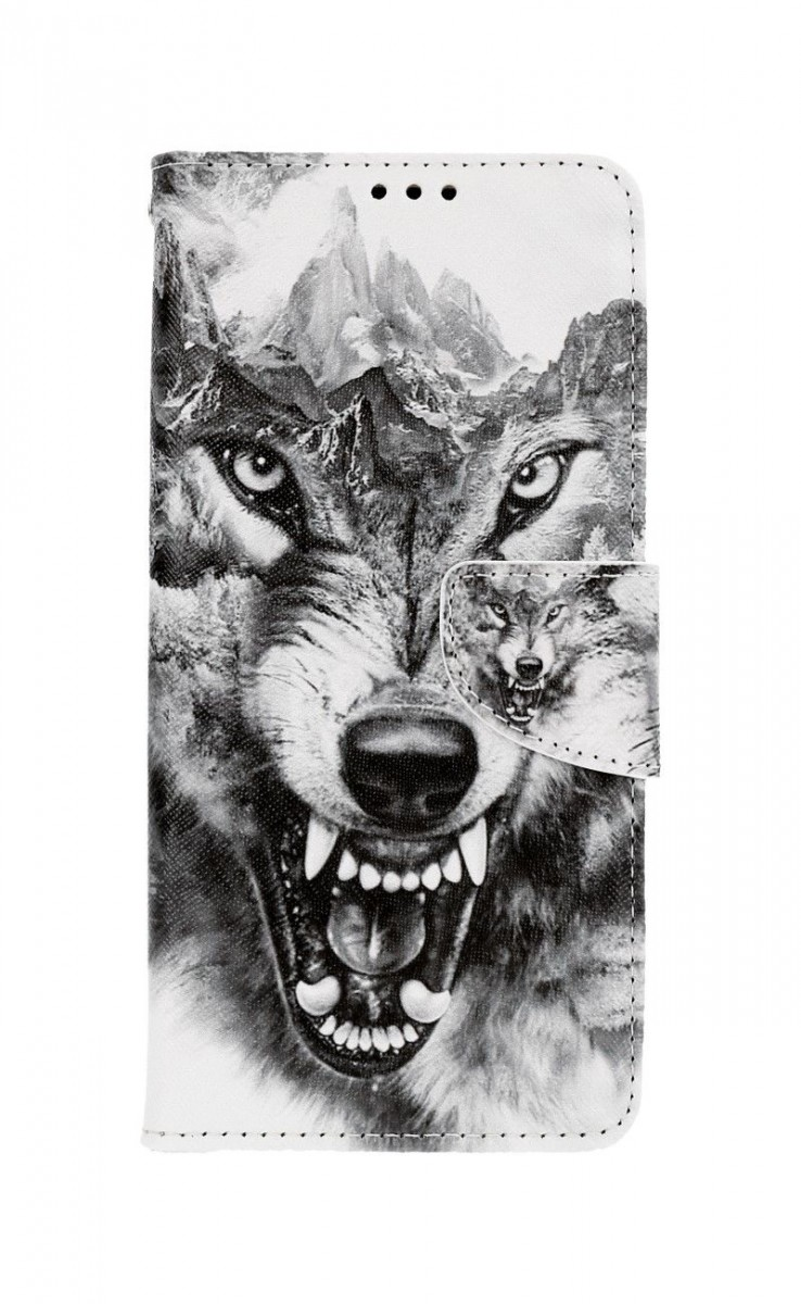Knížkové pouzdro na Samsung A12 Černobílý vlk