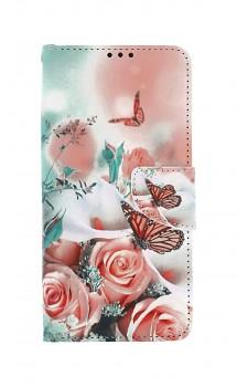 Knížkové pouzdro na Samsung A12 Růže s motýlem