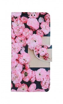Knížkové pouzdro na Samsung A12 Růžové květy